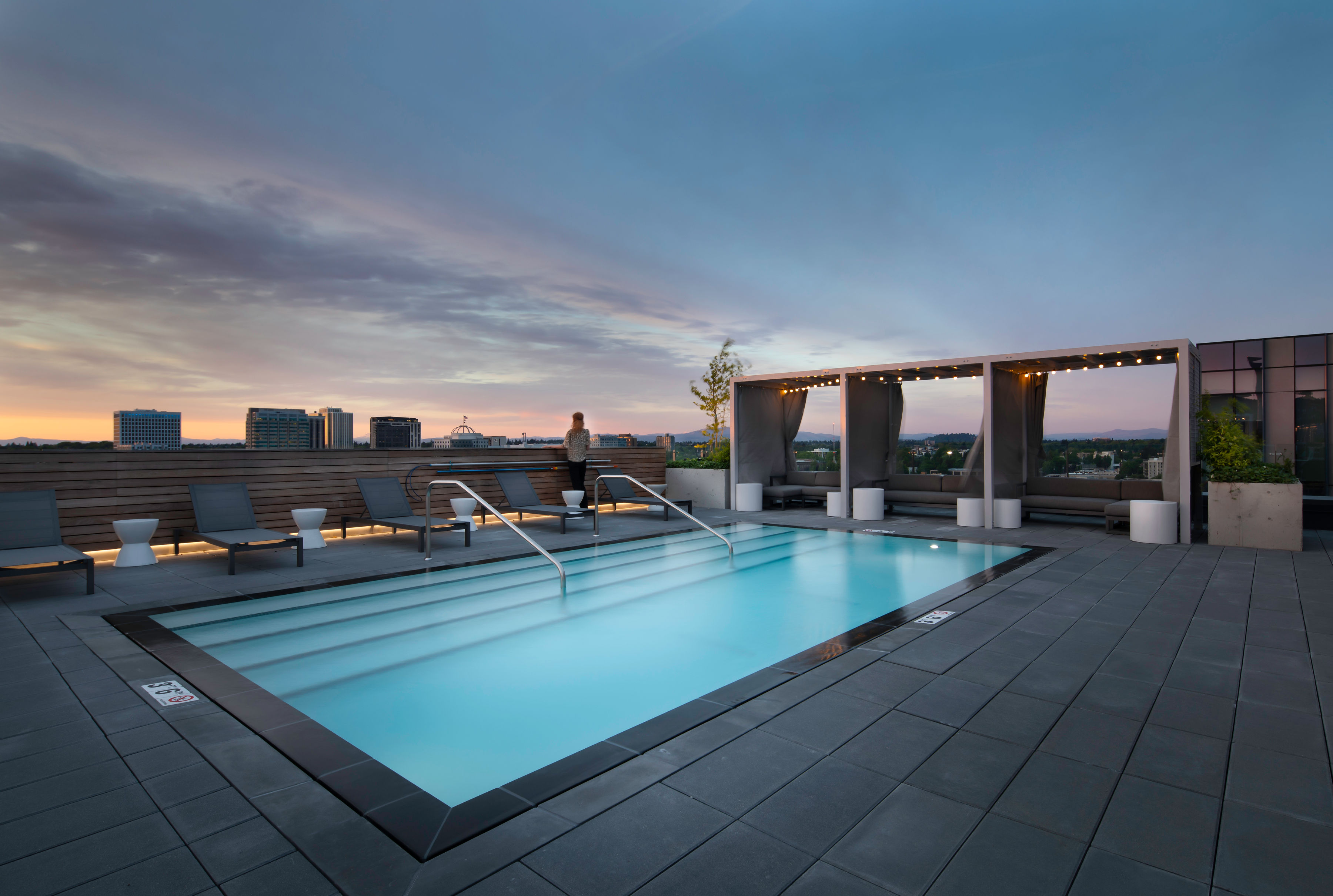 Pool Deck at Sunset at 5 MLK Apartments Portland, Oregon